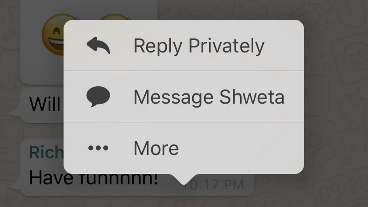 WhatsApp for iOS gets Reply Privately for group chats and 3D Touch for Status