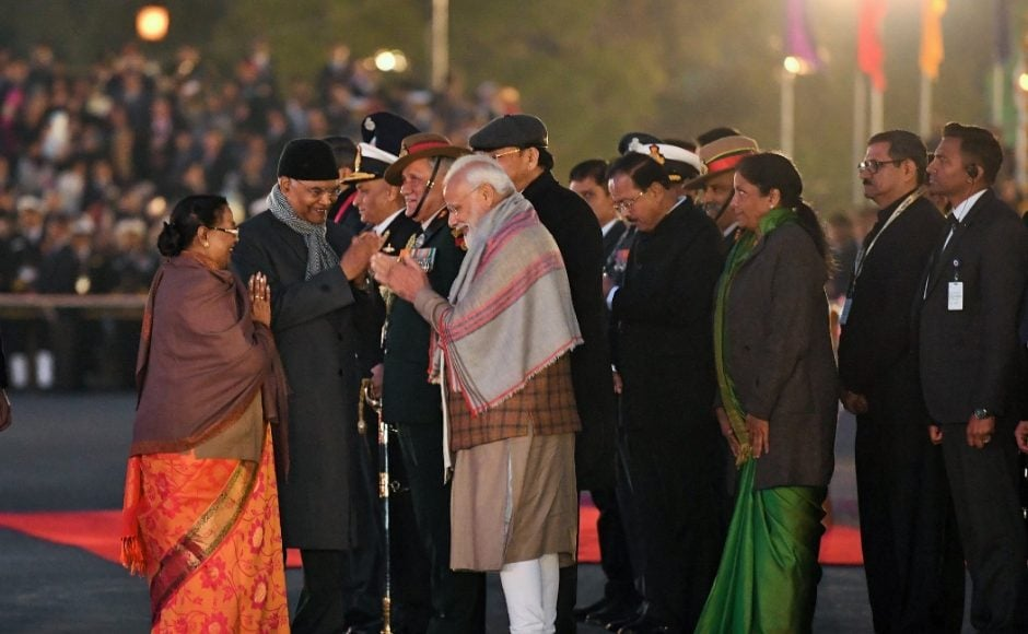 As per the tradition, President Ram Nath Kovind, Vice President Venkaiah Naidu, Prime Minister Narendra Modi, Defence Minister Nirmala Sitharaman and the chiefs of the three armed forces were present for the ceremony. Twitter/@PIB_India