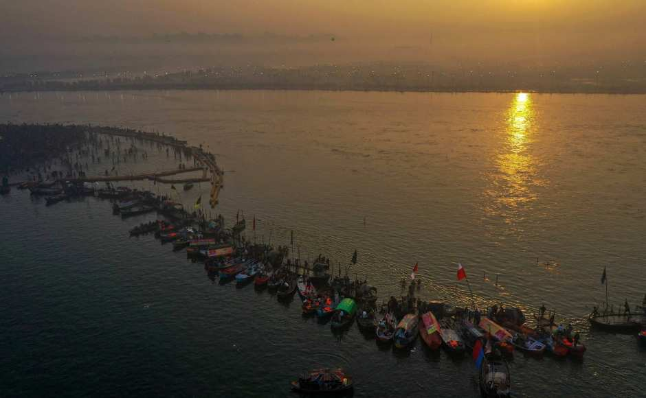 An aerial view shows devotees gathered at Sangam to take a holy dip on the occasion of 'Paush Purnima' during Kumbh Mela in Prayagraj. PTI