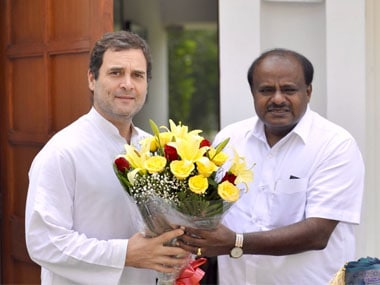 File image of Rahul Gandhi and HD Kumaraswamy. ANI