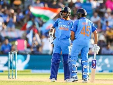 India's Shikhar Dhawan and Rohit Sharma during the third one day international between India and New Zealand at Bay Oval, Tauranga, New Zealand, Monday, January 28, 2019. (AP Photo/John Cowpland)