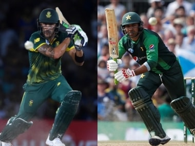South Africa skipper Faf du Plessis (L) and Pakistan captain Sarfraz Ahmed. Agencies