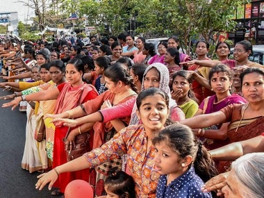 Thousands of women take pledge while participating in the 'women's wall' against communalism and gender discrimination, in Kochi. PTI