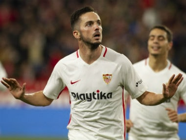 Pablo Sarabia, Wissam Ben Yedder on target as Sevilla march to 2-0 win over Messi-less Barcelona in first leg quarter-final of Copa del Rey