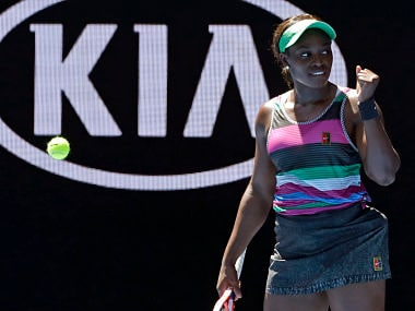 United States' Sloane Stephens celebrates after defeating compatriot Taylor Townsend during their first round match at the Australian Open tennis championships in Melbourne, Australia, Monday, Jan. 14, 2019. (AP Photo/Kin Cheung)
