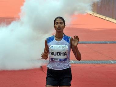 Sudha Singh crosses the Mumbai Marathon finish line. Image Courtesy: Mumbai Marathon