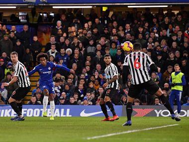 Willian (2R) scores for Chelsea against Newcastle. Image courtesy: Twitter @ChelseaFC