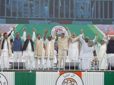 File image of the grand Opposition rally in Kolkata on 19 January. Twitter/@AITCofficial
