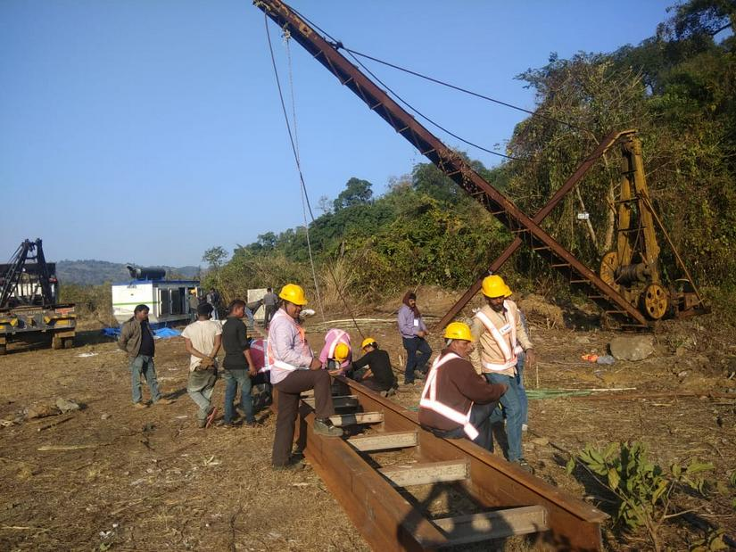 Rescue workers at the site of the Meghalaya mine tragedy. Image Courtesy: Kyrmenlang Uriah