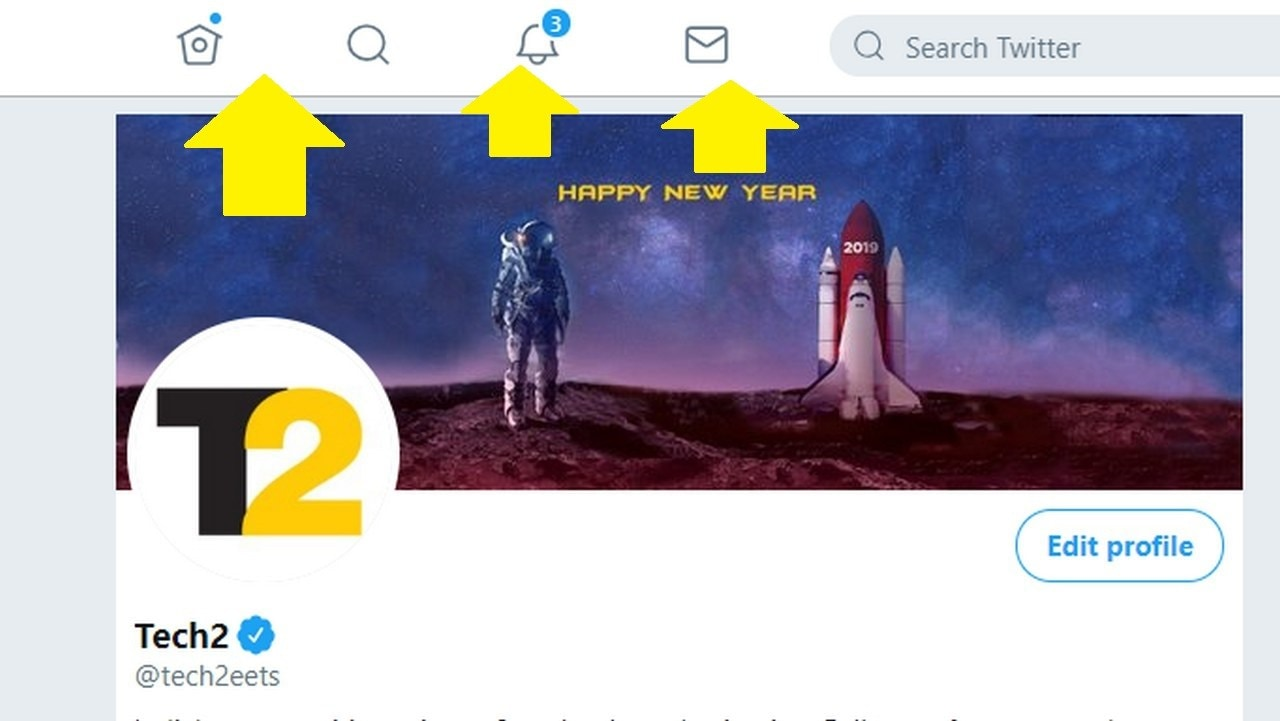 The top bar now shows icons for the Messages, Notifications, Profile and Explore tabs.