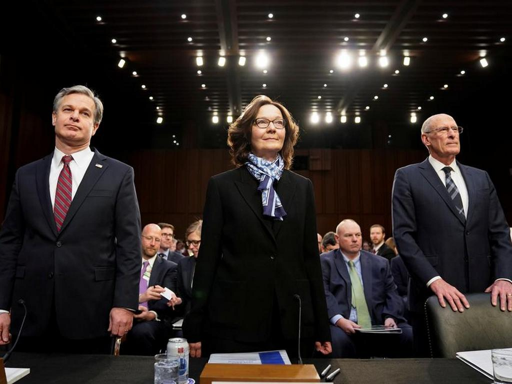 FBI Director Christopher Wray; CIA Director Gina Haspel and Director of National Intelligence Dan Coats at a Senate Intelligence Committee hearing on