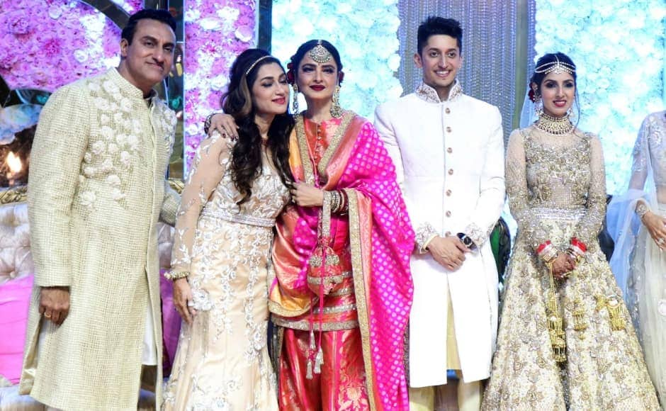 Veteran actress Rekha with the bridegroom and other attendees. Sachin Gokhale/Firstpost