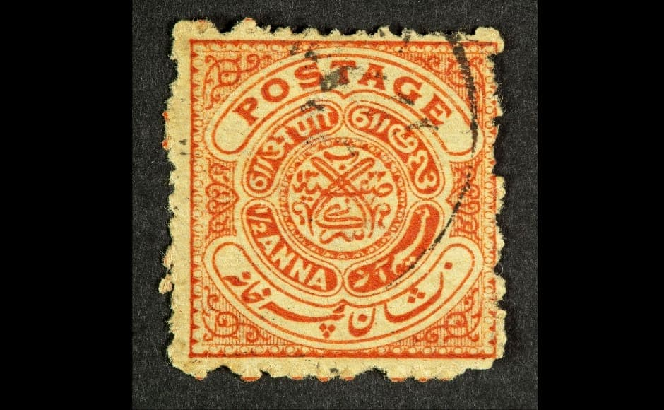 A stamp priced at <em>aadha anna</em> in the princely state. The exhibit, Property of a Gentleman: Stamps from the Nizam of Hyderabad's Dominions, exhibits these stamps which were not only created for practical use but also as a way of celebrating the material heritage and culture of the region. Image courtesy: The Ewari Collection
