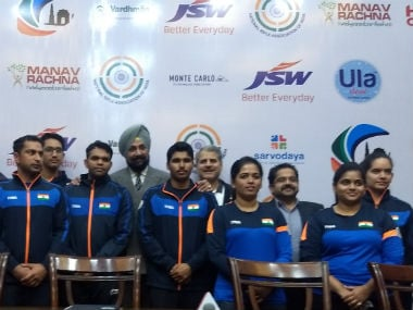 adarsh Singh (second from left) will make his international Seniors debut at the ISSF World Cup in New Delhi. Image: NRAI