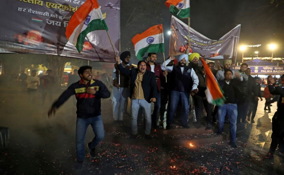 Celebrations continued into the night as political parties and people at large hailed what was perceived to be a reply to the Pulwama attack. AP
