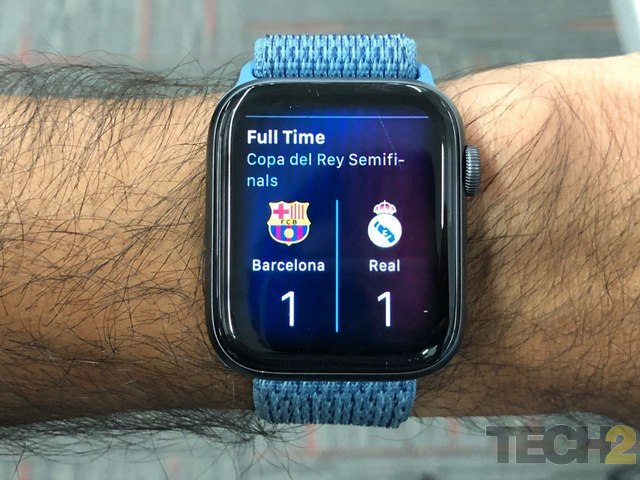 Using Siri on the Apple Watch Series 4, you can get quick access to things such as sports scores. Image: tech2