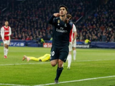 Real Madrid's Marco Asensio celebrates scoring their second goal. Reuters