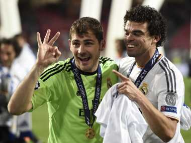 Iker Casillas and Pepe won the Champions League with Real Madrid in 2014. AFP
