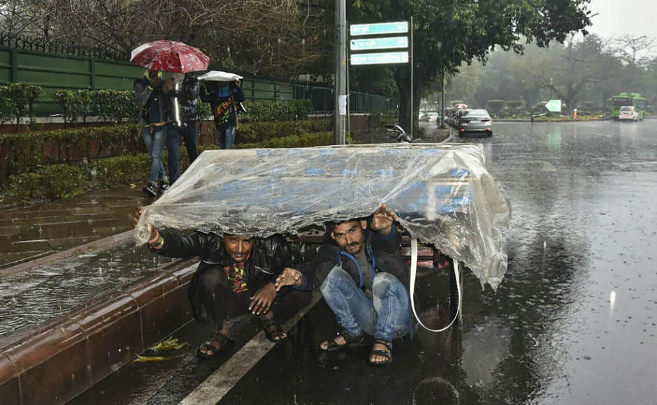 Several parts of New Delhi and adjacent areas reported heavy rain and hailstorm on Thursday evening. PTI