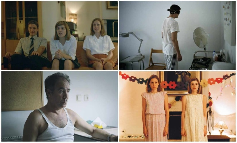 Christos Stergioglou, Angeliki Papoulia, Mary Tsoni and Christos Passalis in various still from Dogtooth