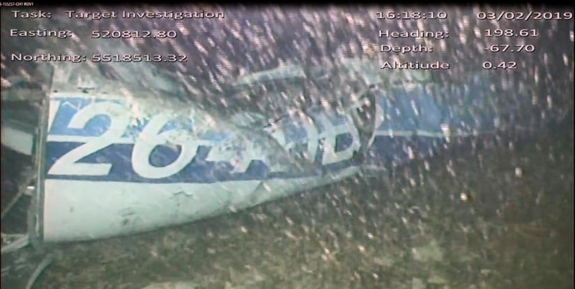 An image released by the UK Air Accidents Investigation Branch (AAIB) showing the rear left side of the fuselage including part of the aircraft registration N264DB that went missing carrying soccer player Emiliano Sala. AP