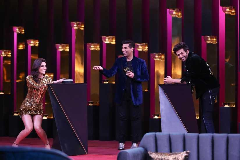 Kriti Sanon and Kartik Aaryan with host Karan Johar. Star World