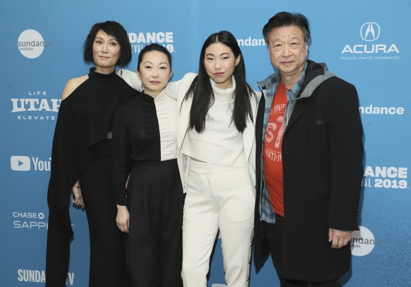 "Actors, from left to right, Diana Lin, writer/director Lulu Wang, Awkwafina, and Tzi Ma pose at the premiere of ""The Farewell"" during the 2019 Sundance Film Festival, Friday, Jan. 25, 2019, in Park City, Utah. (Photo by Danny Moloshok/Invision/AP)"