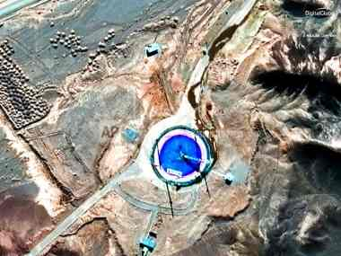 This Feb. 6, 2019, satellite image provided by DigitalGlobe shows an empty launch pad and a burn mark on it at the Imam Khomeini Space Center in Iran's Semnan province. AP