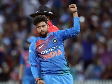 Kuldeep Yadav is now only behind Afghanistan's Rashid Khan in T20I rankings. AFP