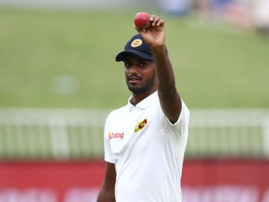 "Sri Lanka's Lasith Embuldeniya celebrates his 5 wicket haul during the third day of the first Cricket Test between South Africa and Sri Lanka at the Kingsmead Stadium in Durban. (Photo by Anesh DEBIKY / AFP) / ""The erroneous mention[s] appearing in the metadata of this photo has been modified in AFP systems in the following manner: [Byline reads Anesh Debiky] instead of [Ludovic Marin]. Please immediately remove the erroneous mention[s] from all your online services and delete it (them) from your servers. If you have been authorized by AFP to distribute it (them) to third parties, please ensure that the same actions are carried out by them. Failure to promptly comply with these instructions will entail liability on your part for any continued or post notification usage. Therefore we thank you very much for all your attention and prompt action. We are sorry for the inconvenience this notification may cause and remain at your disposal for any further information you may require."""