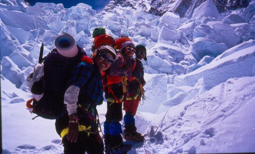 Pal leading Indo-Nepalese women expedition in 1993.