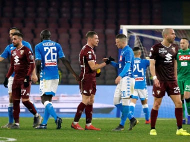 Serie A: Napoli held by Torino as title hopes take further blow; Radja Nainggolan nets winner for Inter Milan against Sampdoria