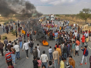 File image of a protest by Gujjar community members. PTI
