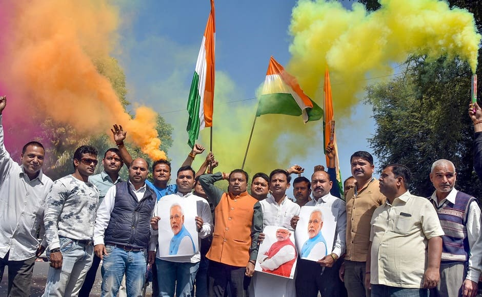 The strikes were carried out within a span of 12 minutes. Pakistan vowed to respond to these strikes at a 'place and time of its own choosing'. Seen here are Jabalpur BJP workers celebrating the air strikes. PTI