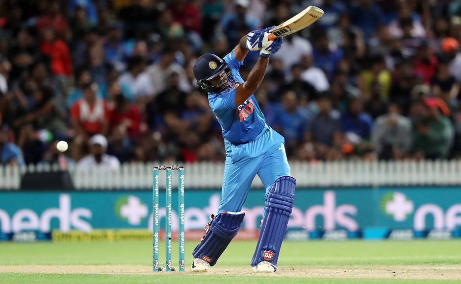 After Dhawan's fall, Vijay Shankar played well for his 43 off 28 balls and formed a decent 75-run partnership with Rohit Sharma before getting out. Rohit and Rishabh Pant (28 off 12) looked to up the ante but debutant Blair Tickner picked up his maiden international wicket in form of the left-handed batsman to pull the game back in Kiwis' favour. AFP