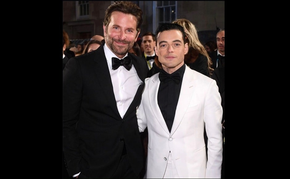 Bradley Cooper and Rami Malek pose together at the BAFTA 2019 red carpet. Source: Twitter