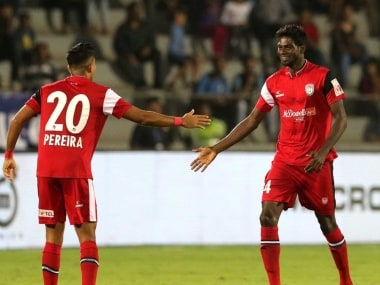NorthEast United FC's Rowllin Borges and Keegan Pereira celebrate after combining to score the first goal against Mumbai City FC. Twitter@IndSuperLeague