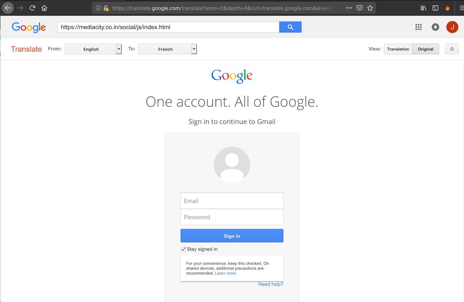 Google Translate being used to mask the malicious web address. Image: Akamai