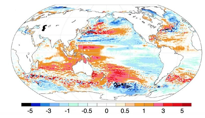 Uneven sea-level rise around the world. The rate at which sea-levels are rising (mm/year) relative to the global average during the satellite era 1993 – 2018. Reds denotes a rate of rise above the global average and opposite for the blues. Of particular interest here is that sea levels are rising faster than the global average in the Bay of Bengal. Source: PNAS