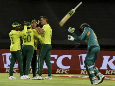 The South Africans celebrate the dismissal of Pakistan captain Shoaib Malik. AP