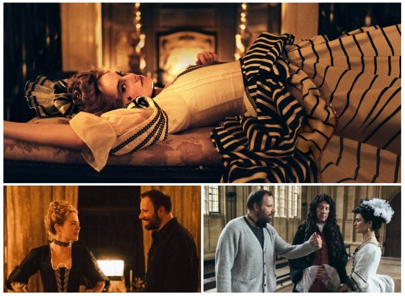 (Top)Emma Stone as Abigail Masham in The Favourite; Yorgos Lanthimos directs Stone (L) and Weisz (R) on set. Fox Searchlight