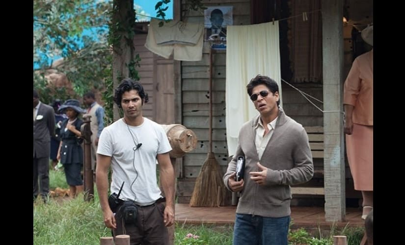 Varun on the sets on My Name is Khan with actor Shah Rukh Khan. Source: Twitter