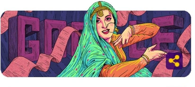 Google Doodle celebrates Madhubala's 86th birth anniversary. Image via Google