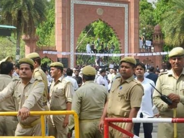 File image of police deployment at the AMU campus. PTI