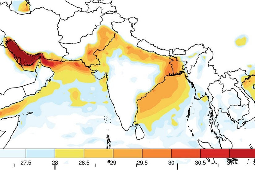 "Regions of maximum heat stress in the country (more precisely: maximum ""wet-bulb temperatures""). The entire Gangetic plane including Kolkata and the Sundarbans are already among the most heat-stressed parts of South Asia. Image: Courtesy of the researchers"