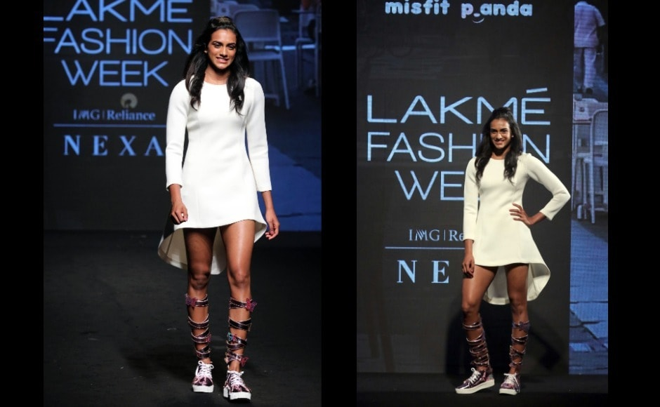 Badminton ace PV Sindhu made her debut on the Lakme Fashion Week (Summer/Resort) 2019 ramp this Sunday, 3 February. Photo: Sachin Gokhale/Firstpost