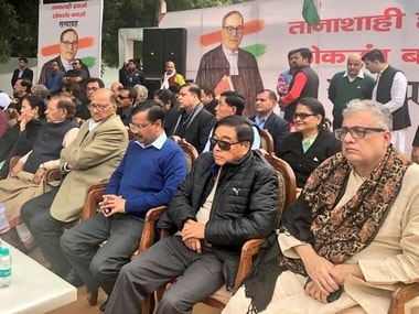Opposition leaders at a rally in Delhi organised by AAP. Twitter/Sharad Pawar