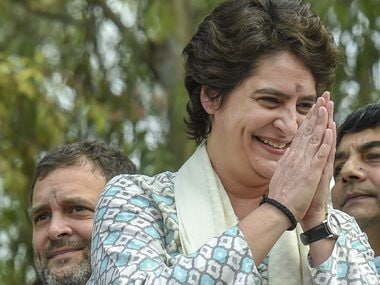 Priyanka Gandhi Vadra during a roadshow in Lucknow on Monday. PTI