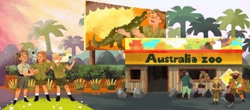 Google Doodle for Steve Irwin's 57th birthday