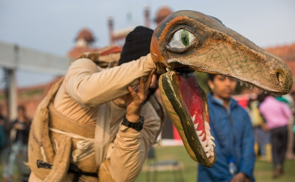 A dinosaur from the Katkatha puppeteers who walked and danced through the festival, entertaining the crowds.
